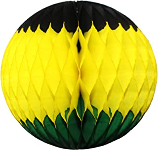 product image for 3-Pack Large 14 Inch Honeycomb Tissue Paper Party Ball Decoration (Jamaican - Black/Yellow/Green)
