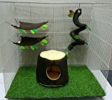 Hot Sale! 4 Pcs Sugar Glider Hamster Squirrel Chinchillas Small Pet Cage Set Vertical Log Forest Pattern - Polar Bear's Republic