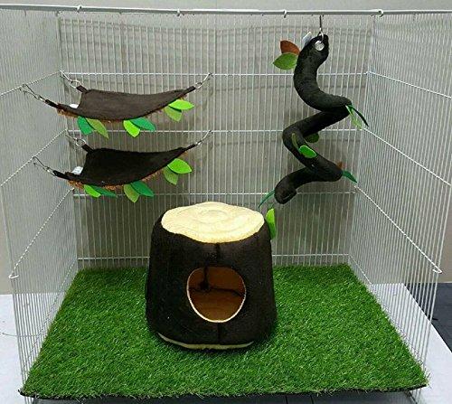 4 Pcs Sugar Glider Hamster Squirrel Chinchillas Small Pet Cage Set Vertical Log Forest Pattern Get Free 1 Small Pet Treats, Polar Bear's ()