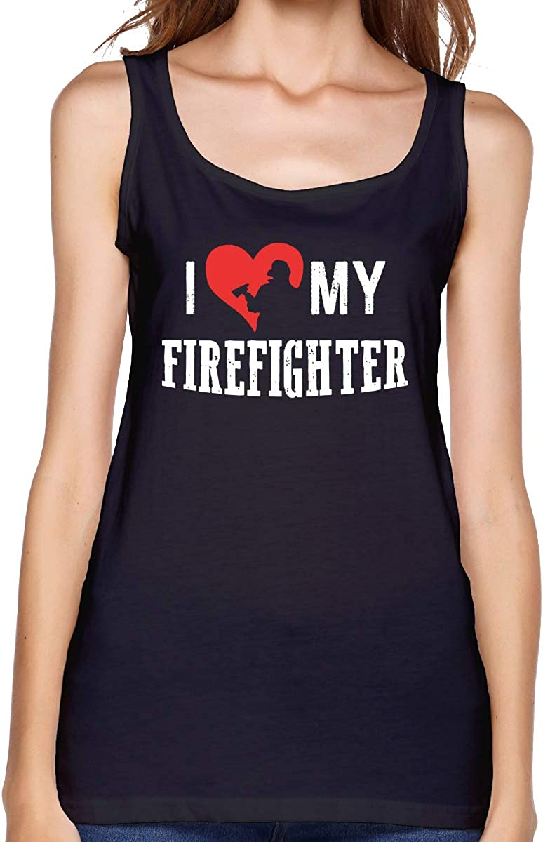 B07QKRW4QC Women's I Love My Firefighter Sexy Comfy Blouse Tops Summer Blank Tank Top 612nH6gFpiL