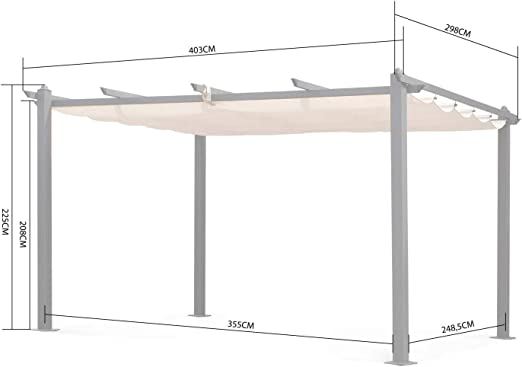 Alices Garden - Pergola, Aluminio, Crudo, 3x4 m: Amazon.es: Jardín