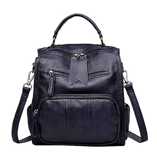 Xinwcang Casual Mochila Bolso para Mujeres,Moda Pequeño Ligero Cuero de la PU Bolsos del Hombro Multi-bolsillos Bolsa de Mano Ocio Mochila para Niñas Azul: ...