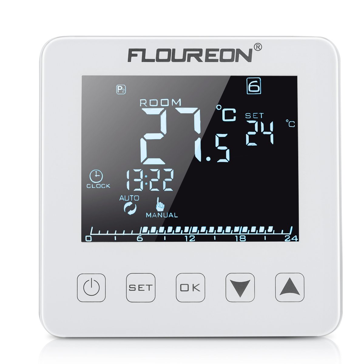 FLOUREON Heating Thermostat LCD Touchscreen Underfloor Heating Thermostats Programmable Central Heating Thermostat 5/5+1/5+2 Weekly Daily Underfloor Temperature Controller (Black)