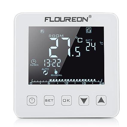 FLOUREON termostato calefacción suelo termostato LCD táctil termostato azul pantalla retroiluminada 6 etapas 24 horas programable