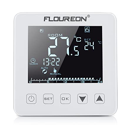 Floureon Termostato eléctrico de interior, para calefacción eléctrica, pantalla táctil, para fijación en