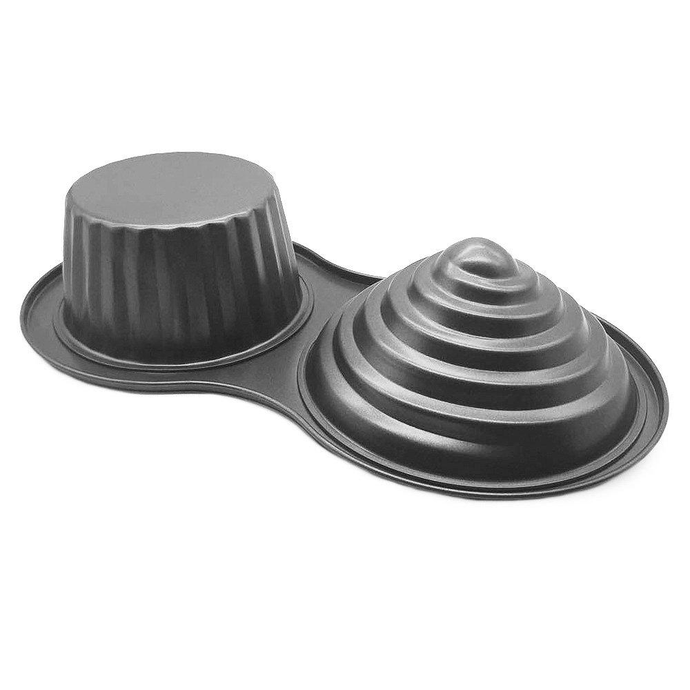 HOMOW 3D Giant Cupcake Pan, Non-Stick Carbon Steel Jumbo Cupcake Pans, Large Cupcake Mold NS8-001