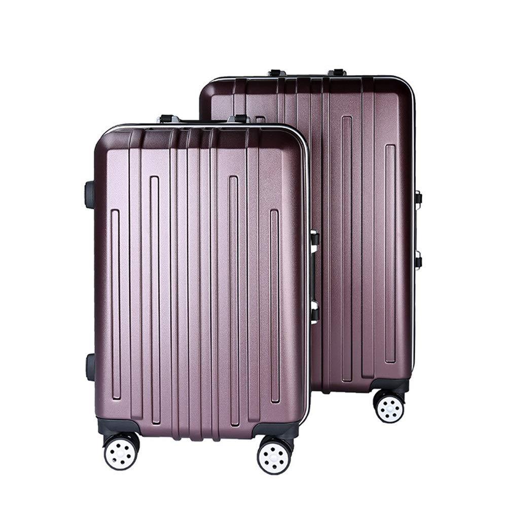 軽量スーツケース 22in 26in 2ピース入れ子荷物セットスピナートラベル荷物トロリーケーススーツケースハードシェル軽量キャリーオンアップライトスーツケース360°サイレントスピナー多方向ホイール飛行機フライトチェックイン 旅行スーツケース (色 : Dark red, サイズ : 22in+26in) B07R8YYYR7 Dark red 22in+26in