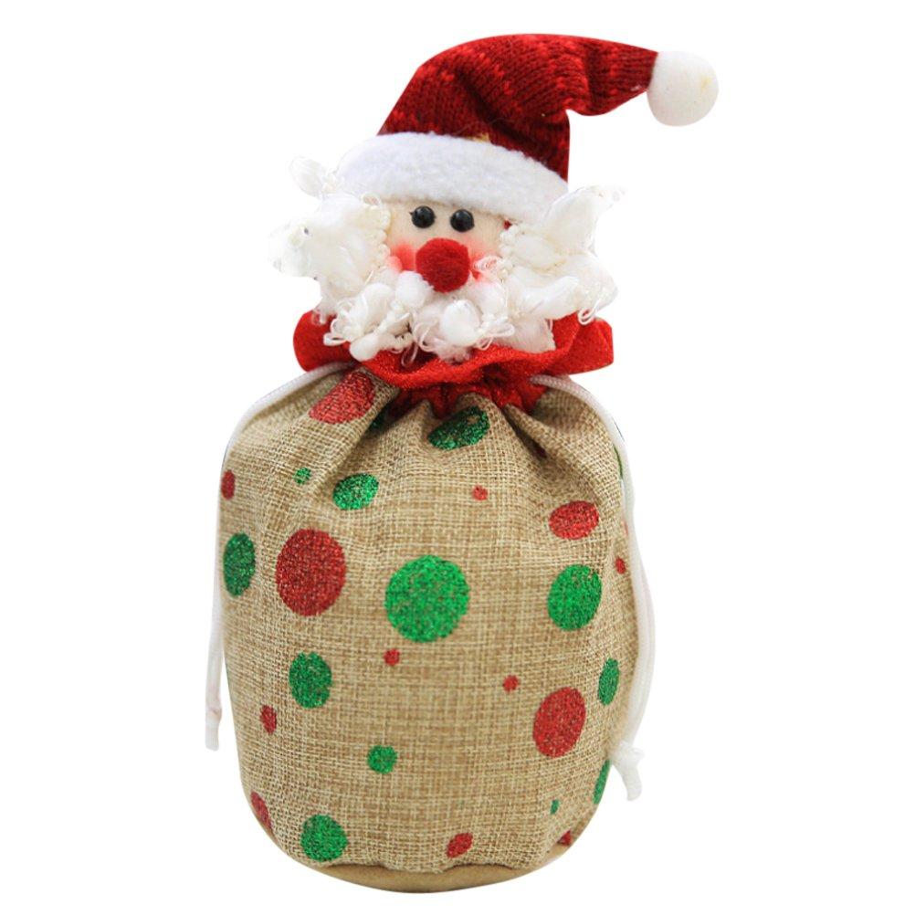 Amazon Com Zhuhaitf Santa Claus Snowman Bear Linen Gift Bag