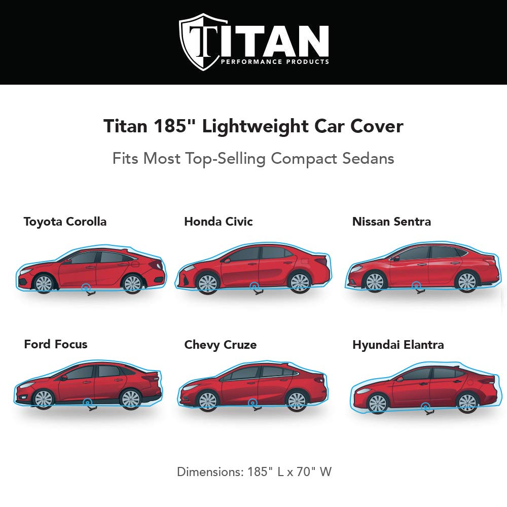 Titan Lightweight Car Cover Nissan Sentra and Features a Driver-Side Door Zipper and More Fits Toyota Corolla Includes a Cable and Lock Waterproof Car Cover Measures 185 Inches Compact Sedan