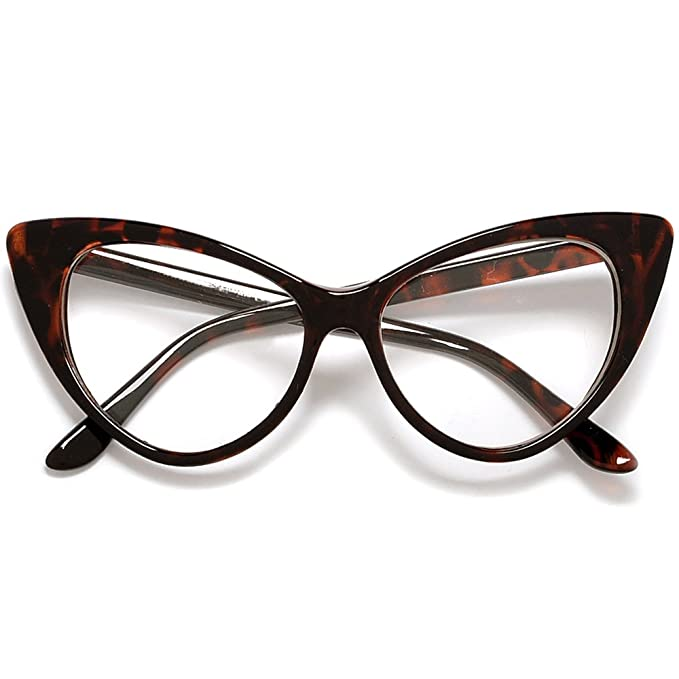 716741e41d94f Pointed Tip Super Cateyes Vintage Inspired Fashion Mod Chic Fashion Clear  Glasses (Tortoise Clear