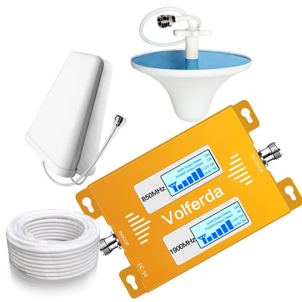 Volferda Dual Display Cell Phone Signal Booster With Directional & Dome Antenna 850MHz/1900MHz Band 2 and Band 5 Dual Band Mobile Repeater for Home 2G/3G/4G Verizon T-Mobile AT&T Sprint etc.