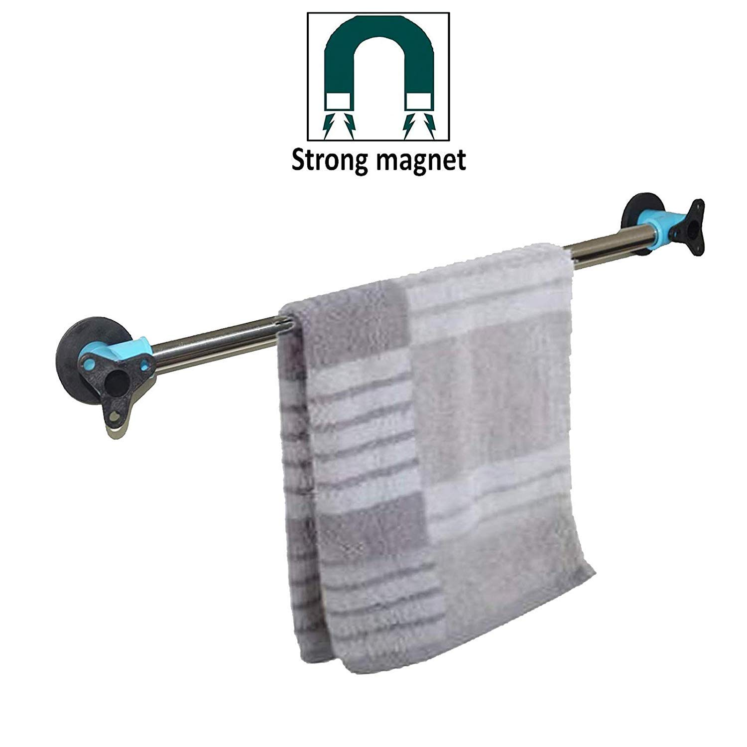 Strong Magnetic Towel Bar, Powerful Magnet Towel Holder, Towel Hook Hanger — Removeable Towel Rack — Great for Refrigerator, Kitchen Sink and Other Magnetic Surfaces — No drilling required,No screws
