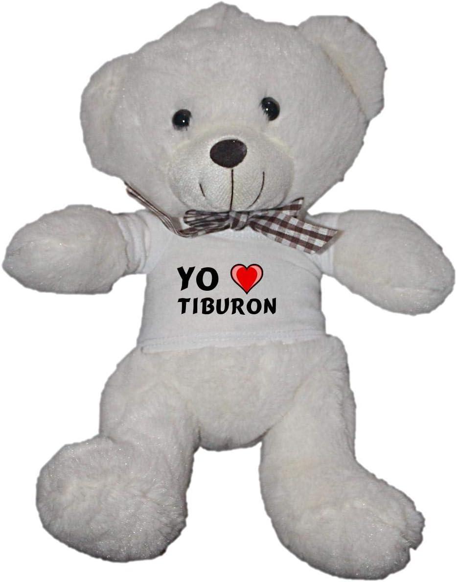 Oso blanco de peluche con Amo Tiburon en la camiseta (nombre ...