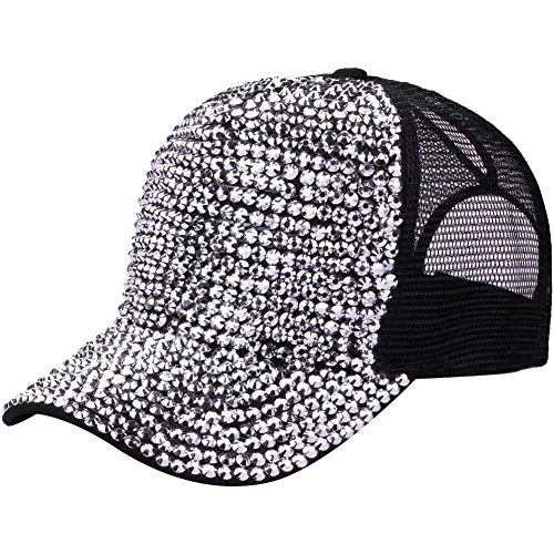 (Ztl Studded Rhinestone Bling Baseball Cap High Messy Bun Ponytail Adjustable Hat, Black)