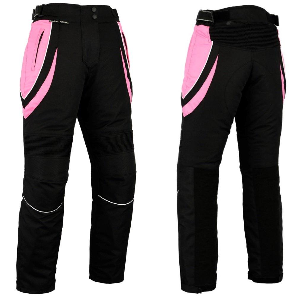 Pantalon de moto pour femme - impermé able/protection certifié e CE - noir et rose - UK14 - taille normale - Tour de taille 34 Longueur 30 Turin Motorcycle Wear