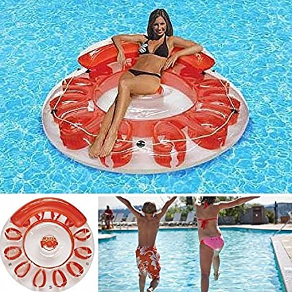 Amazon.com: CENTER Inflatable Floating Island,Swimming Pool ...