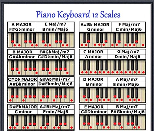 (PIANO KEYBOARD 12 SCALES CHART 8.5