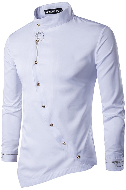 WHATLEES Herren Gotik Langarm Stehkragen Hemd mit Golden aufgesticktes Design