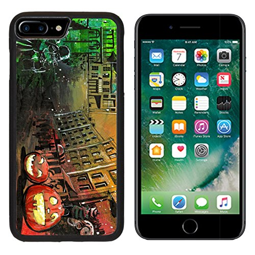 [MSD Premium Apple iPhone 7 Plus Aluminum Backplate Bumper Snap Case Halloween pumpkin old town painting IMAGE] (Cute Halloween Ghost Clip Art)