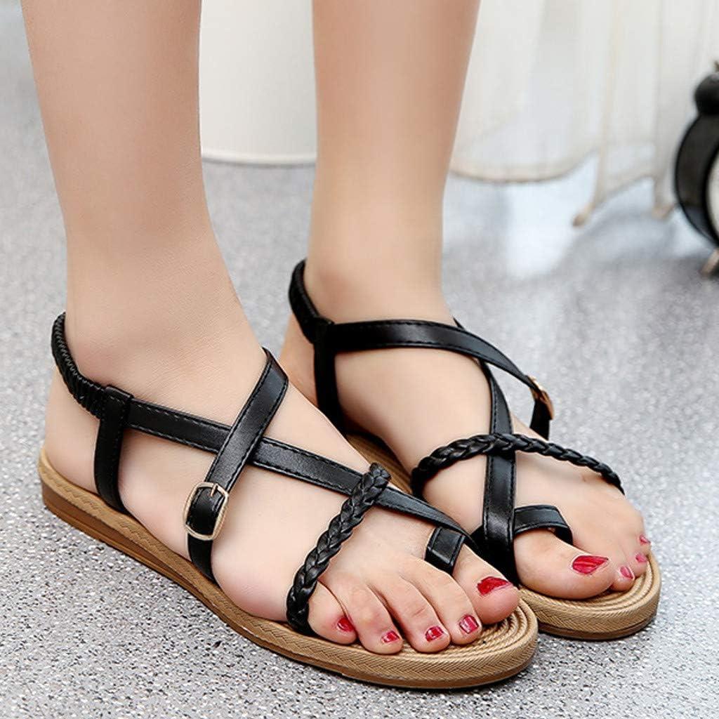 Ladies Casual Elastic Strap Flat Gladiator Sandal Women Clip Toe Sandals Summer Beach Swim Shoes 5.5, Black