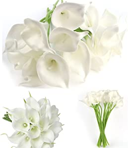 Muyee 20 Pcs Artificial Calla Lily Flowes Real Touch Fake Flowers Wedding Bouquets Home Decorations (White)