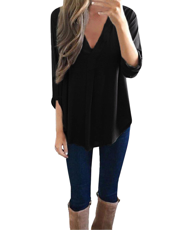 StyleDome Donna Maglietta Collo V Manica Lunga più Dimensioni Maglia Camicia Loose Moda Casual Top T-Shirt STYLEDOMEWirzdolyit23753