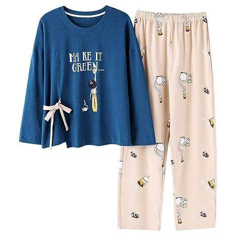Zanzan Pijamas, Damas, otoño e Invierno, algodón, cómodo ...