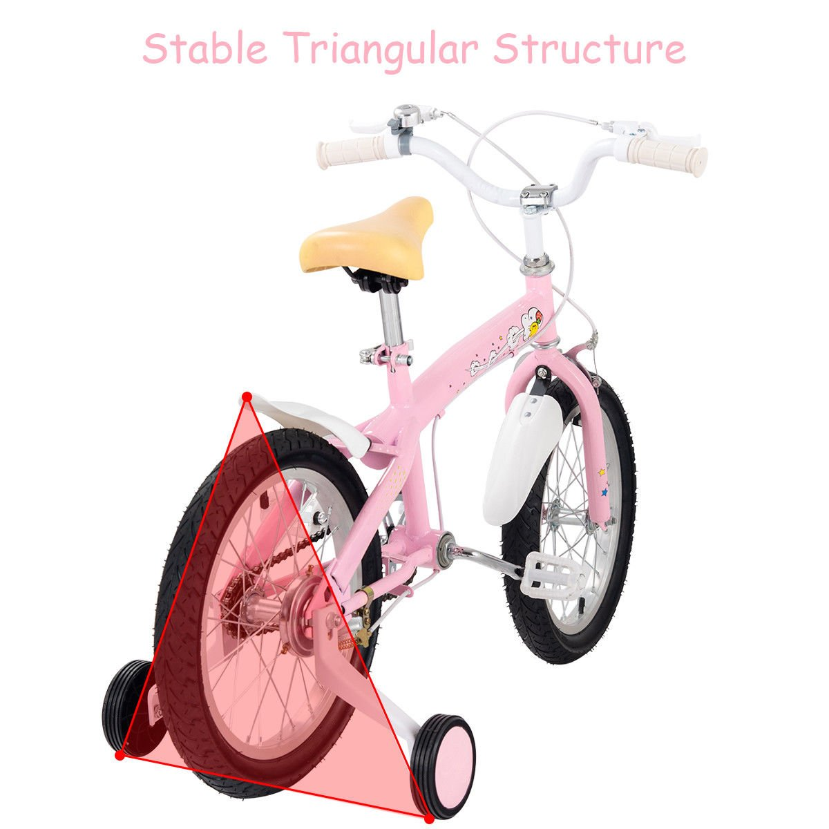FDInspiration Pink 45'' x 31.5'' Metal Frame Kids Bike w/Training Wheels with Ebook by FDInspiration (Image #6)