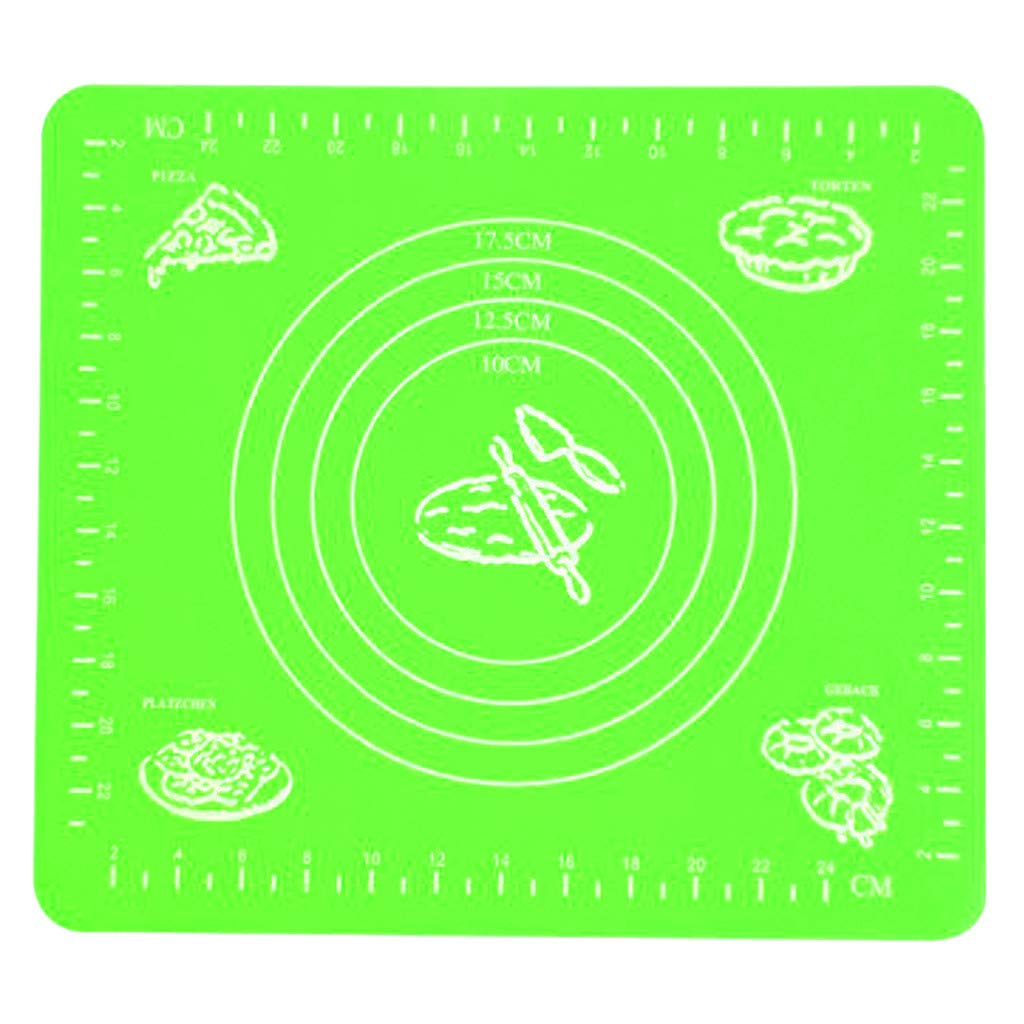 Pulison Extra Large Silicone Baking Mat Non-Stick Pastry Mat Board Table Placemat Pad for Baking,Rolling Dough with Measurements, Reusable Heat-Resistant (Green)