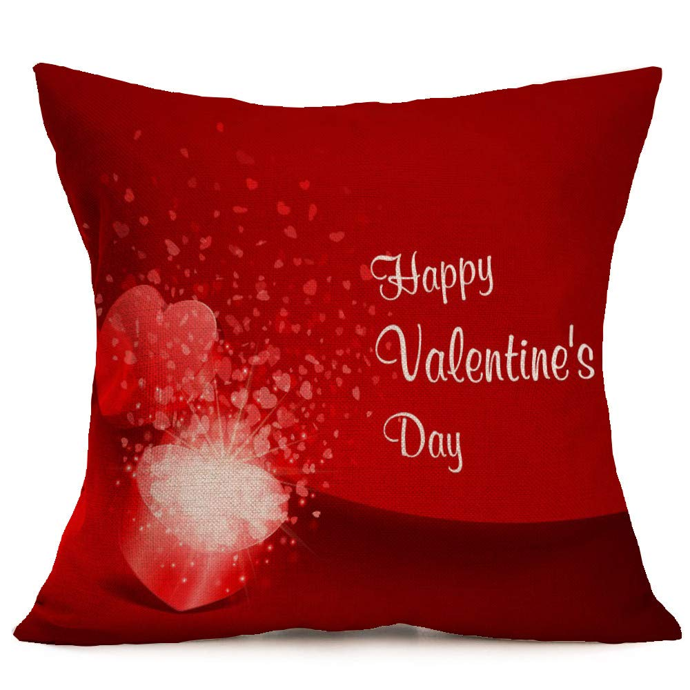 kehen Valentine's Day Pillow Case Fashion Lovers Painting Linen Cushion Cover Throw Waist Pillow Case Sofa Home Decor (F)