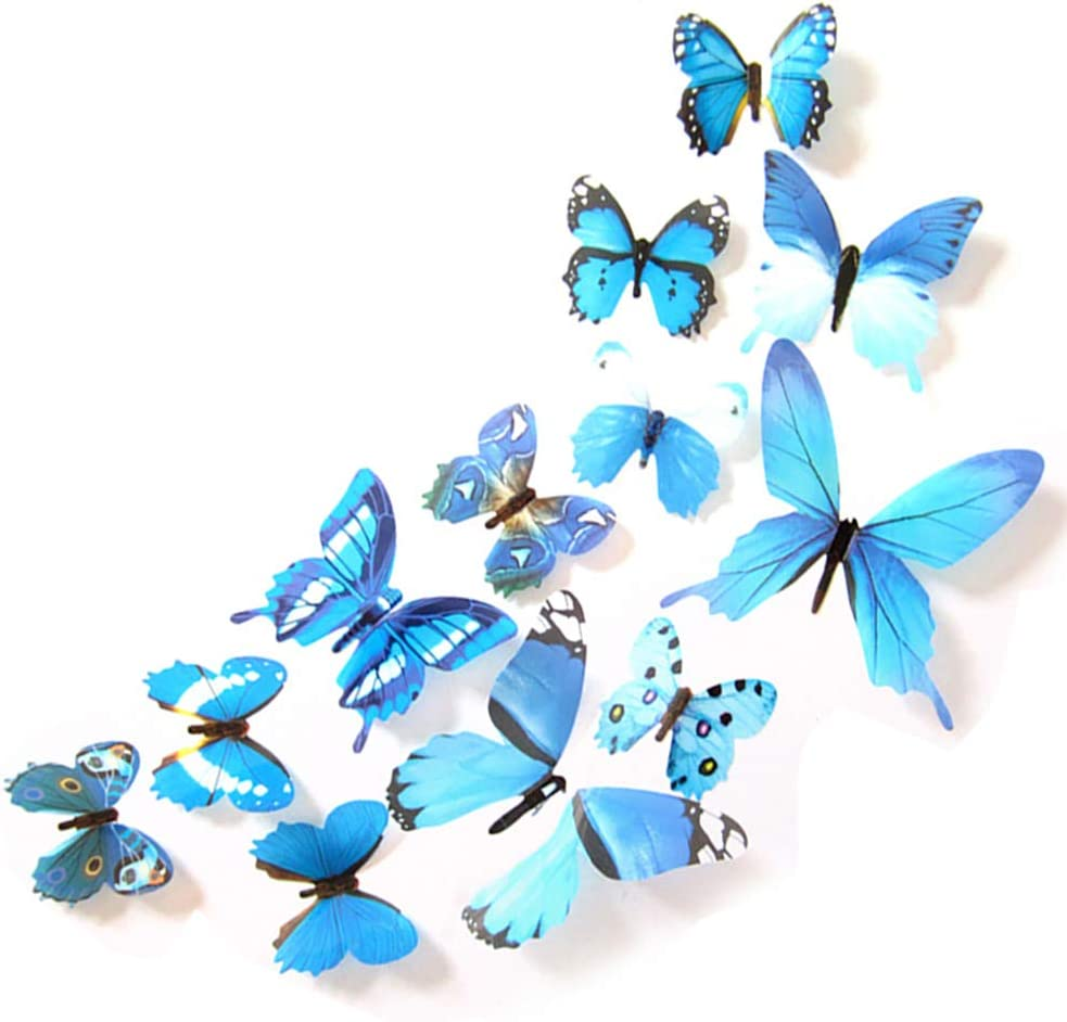 JYPHM 24PCS 3D Butterfly Wall Decal Removable Stickers Decor for Kids Room Decoration Home and Bedroom Art Mural Blue