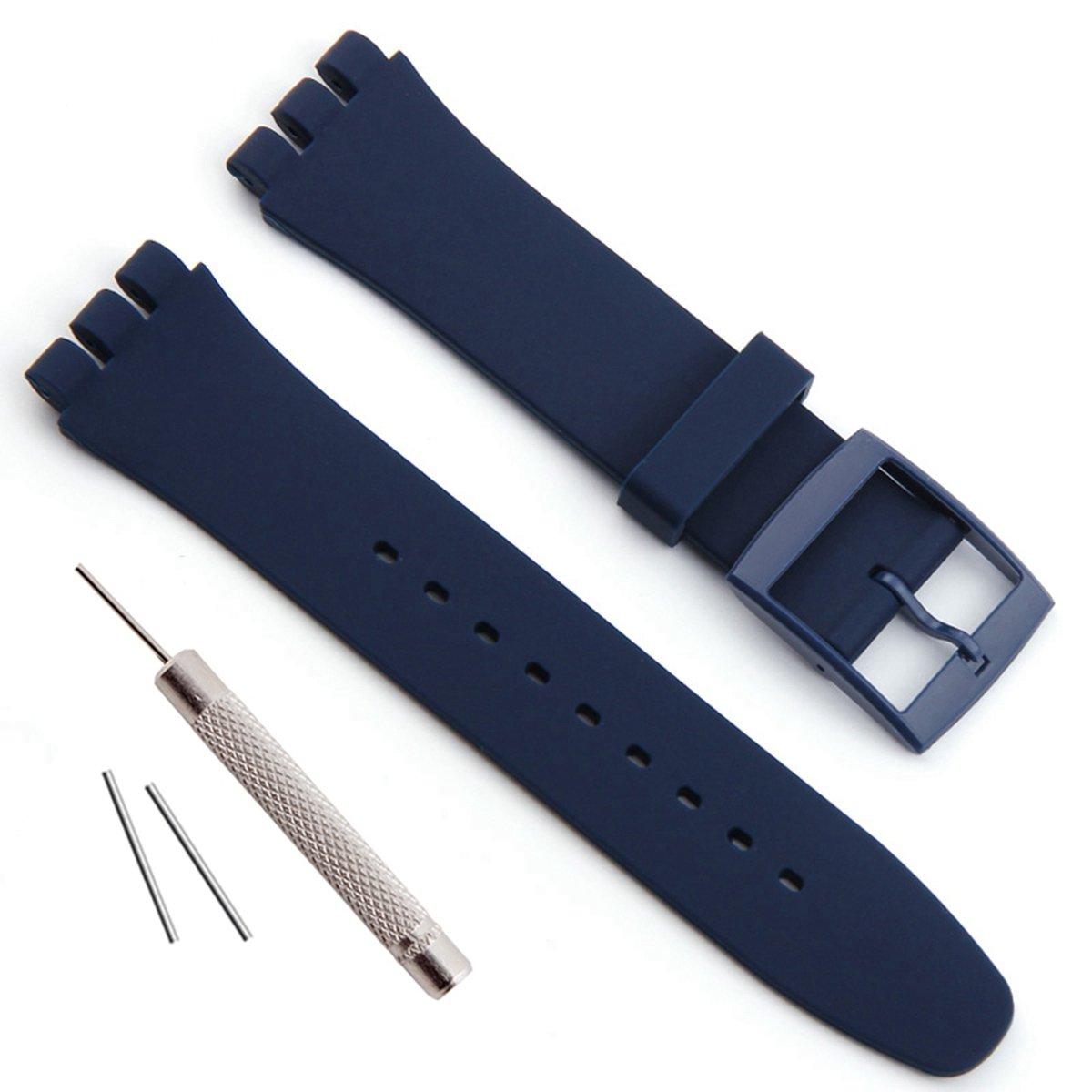 見本交換防水シリコンラバー腕時計ストラップ時計バンド(17 mm 19 mm 20 mm) 19mm ネイビーブルー 19mm|ネイビーブルー ネイビーブルー 19mm B074Z95WMW