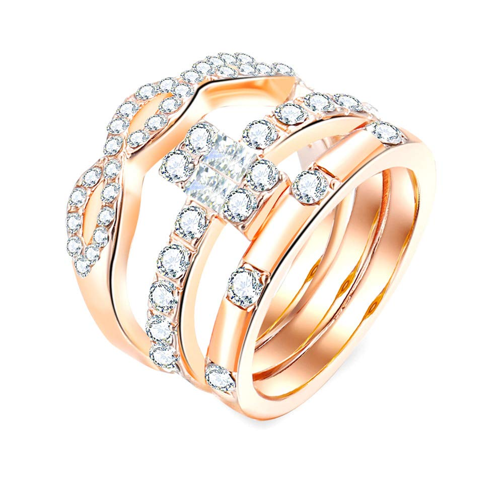 Rose Gold US 9 skoqjFQSen Boutique Accessory Gift Rings 3Pcs//Set Infinity 8 Cross Cubic Zirconia Slim Engagement Ring Charm Jewelry