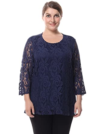 3258c0b8c5c66 Chicwe Women s Plus Size Lined Lace Top Blouse - Round Neck 3 4 Sleeves Work