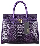 PIJUSHI Crocodile Handbags And Purses Satchel Office Padlock Handbag For Women 22130 violet