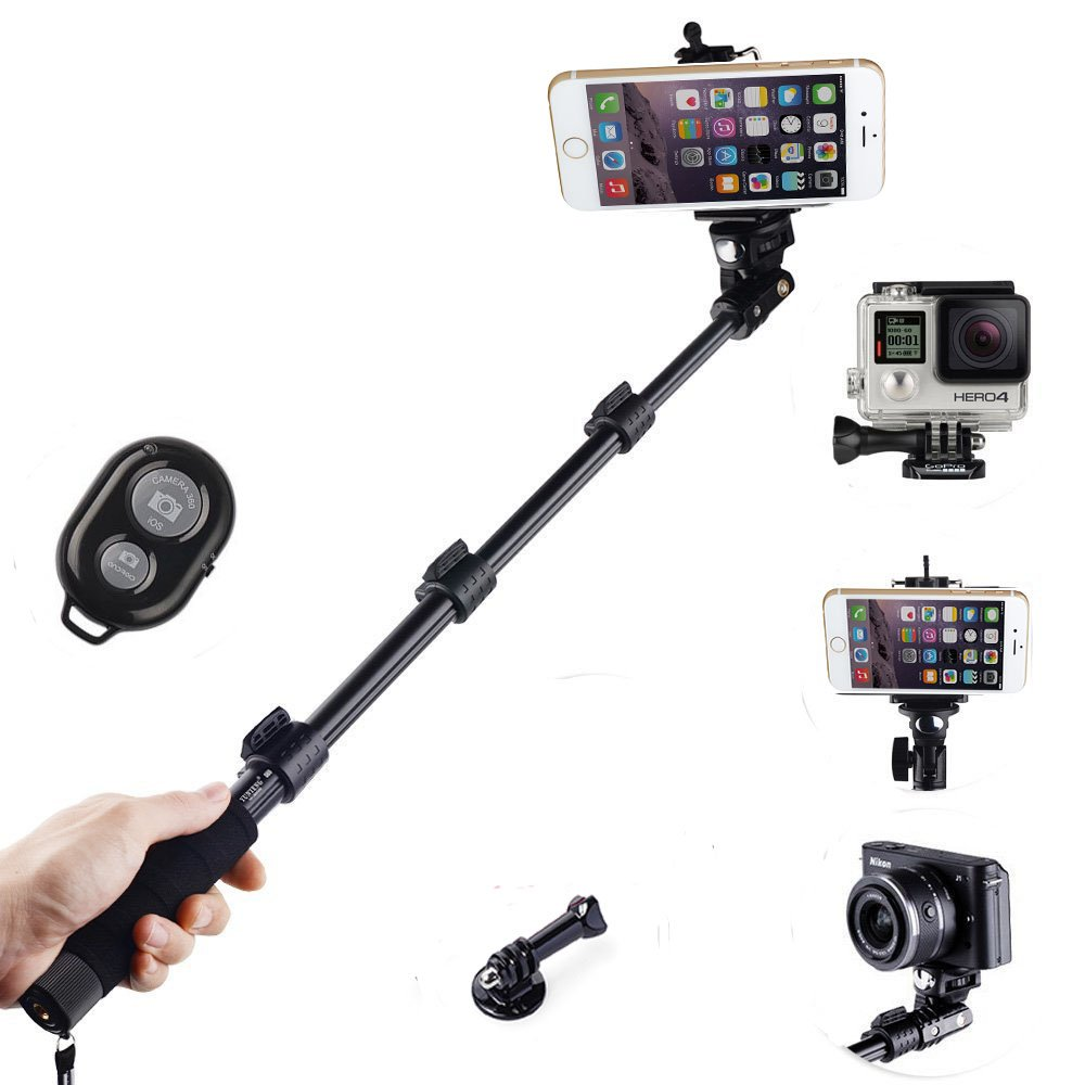 Telescopic Handheld Monopod Selfie Stick Pole with Bluetooth remote Shutter Button for iPhone 6 Plus 5 5S 4S 4 Samsung Galaxy S5 S4 S3 Note 3 2 and other Android Smartphones and Tripod Mount for Gopro Hero 4 3 max:50 Inches JVJ/® 3 2 1 Digital Camera