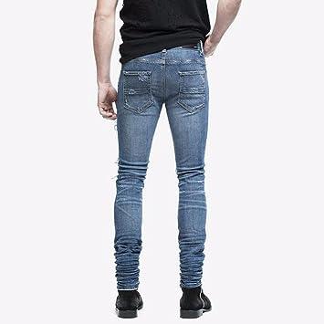 Hombre Elástico Ripped Skinny Biker Pantalones Vaqueros ...