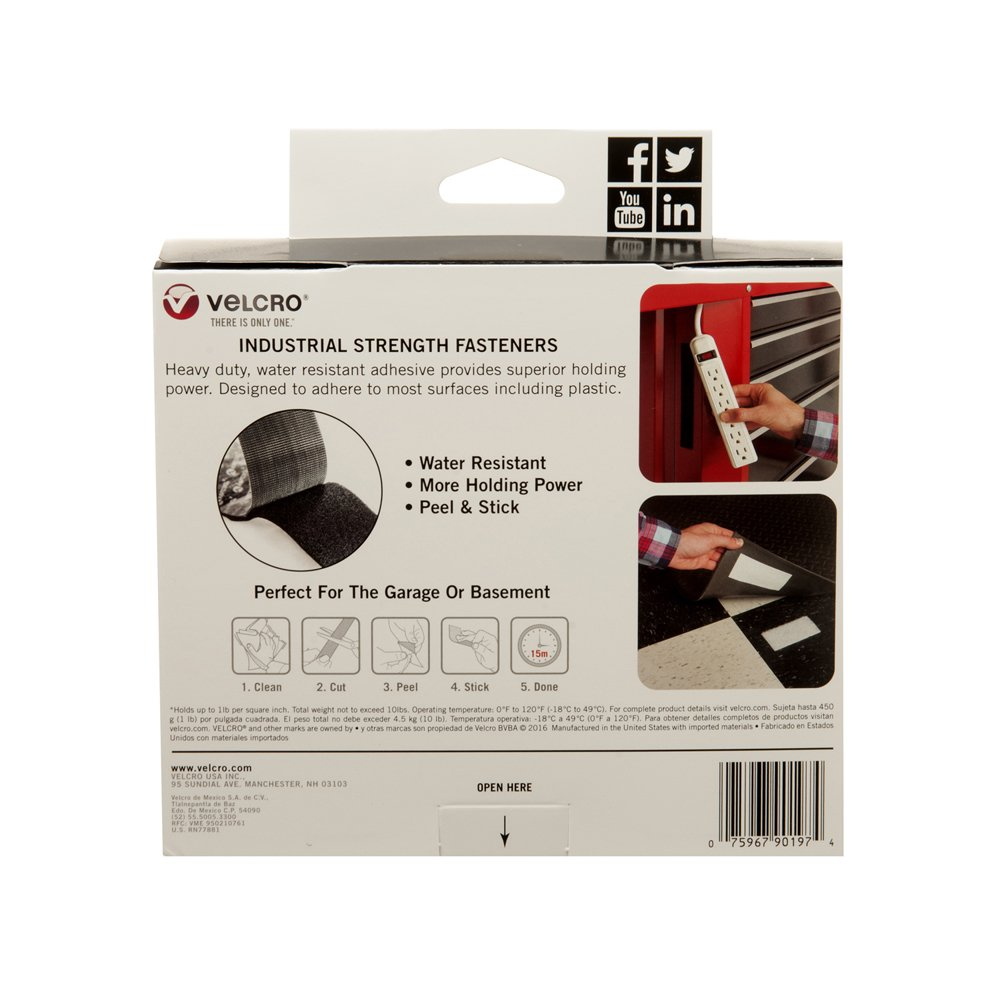 Industrial Strength Tape Size 15ft x 2in Superior Holding Power on Smooth Surfaces Indoor /& Outdoor Use Pack of 1 Black Heavy Duty VELCRO Brand