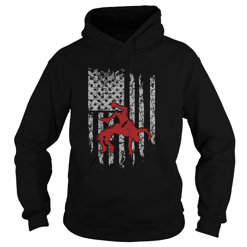 American Flag Takedown Wrestling Sweatshirt - 50% Cotton, 50% Polyester - Gildan 8Oz Heavy Blend Hoodie (X Large) by emily gift