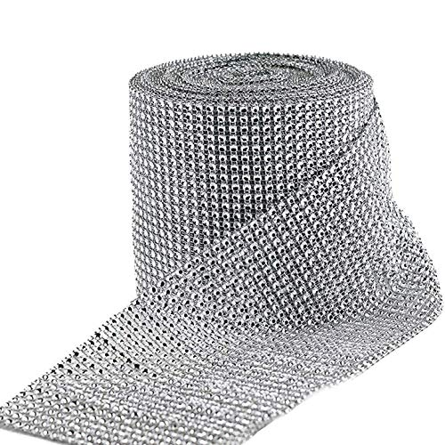 HUJI Diamond Silver Rhinestone Mesh Ribbon Wrap for Wedding Decorations, Gifts, Party Supplies, Cake Decorations (30 Feet, Silver Diamond Rhinestone)