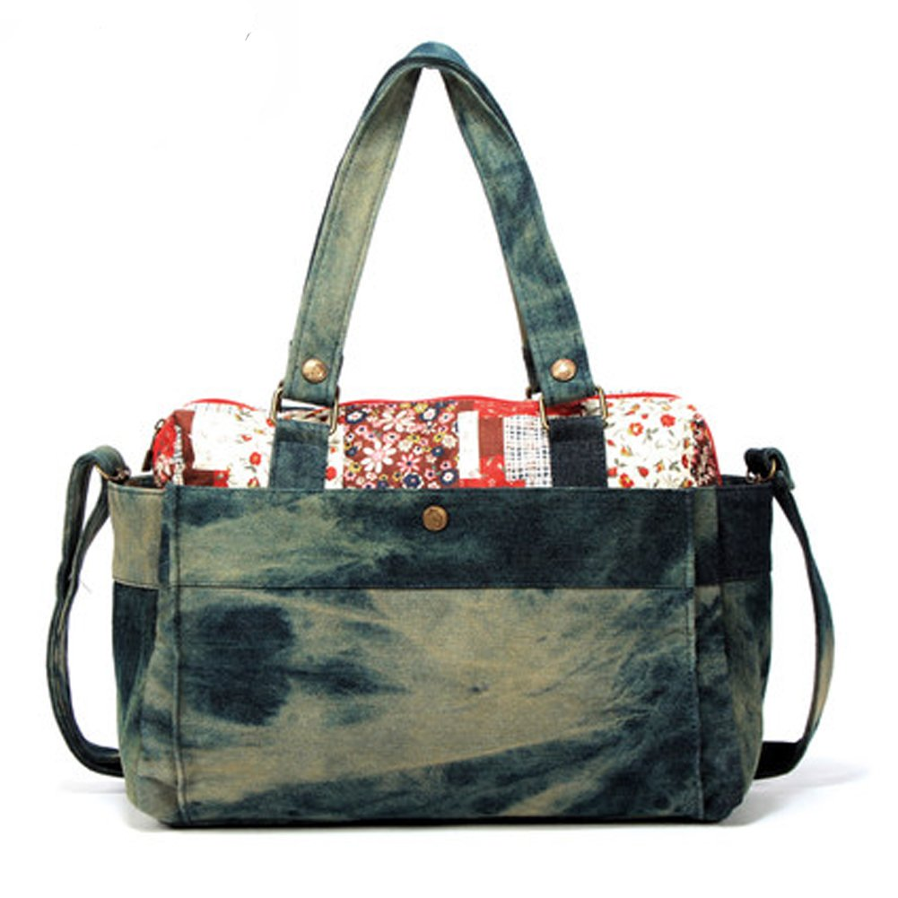 Munis Women 's Literaryキャンバスバッグメッセンジャーバッグ大容量ポータブルショルダーバッグ  ブルー B01EBZSAWY