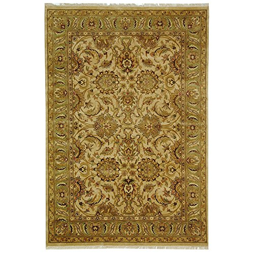 Safavieh Dynasty Collection DY207B Hand-Knotted Beige and Green Premium Wool Area Rug (6' x 9')