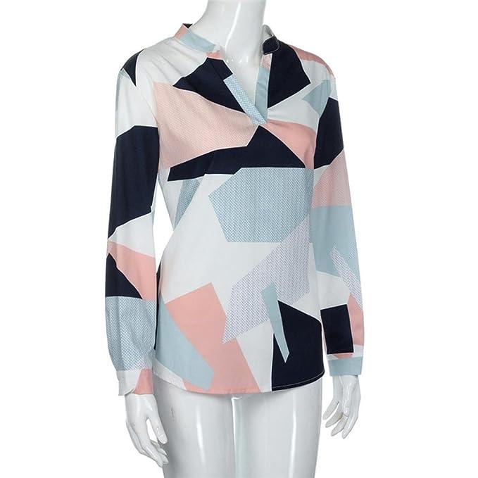 IMJONO Damen Womens Casual Print V Neck Langarm Shirts Tops Bluse   Amazon.de  Bekleidung 9800f9c9ff