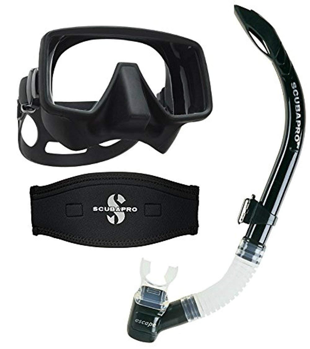 Scubapro Frameless Gorilla Scuba Mask (Matte Black) w/Neoprene Strap Cover & Escape Semi-Dry Snorkel