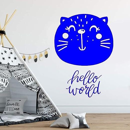 yaoxingfu Hello World Nursery Wall Decal Cut Cat Head Murales para ...