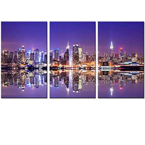 Large Size New York Cityscape Wall Art DecorILLUMINATED MANHATTANCanvas Picture Stretched on  sc 1 st  Amazon.com & Amazon.com: Large Size New York Cityscape Wall Art Decor ...