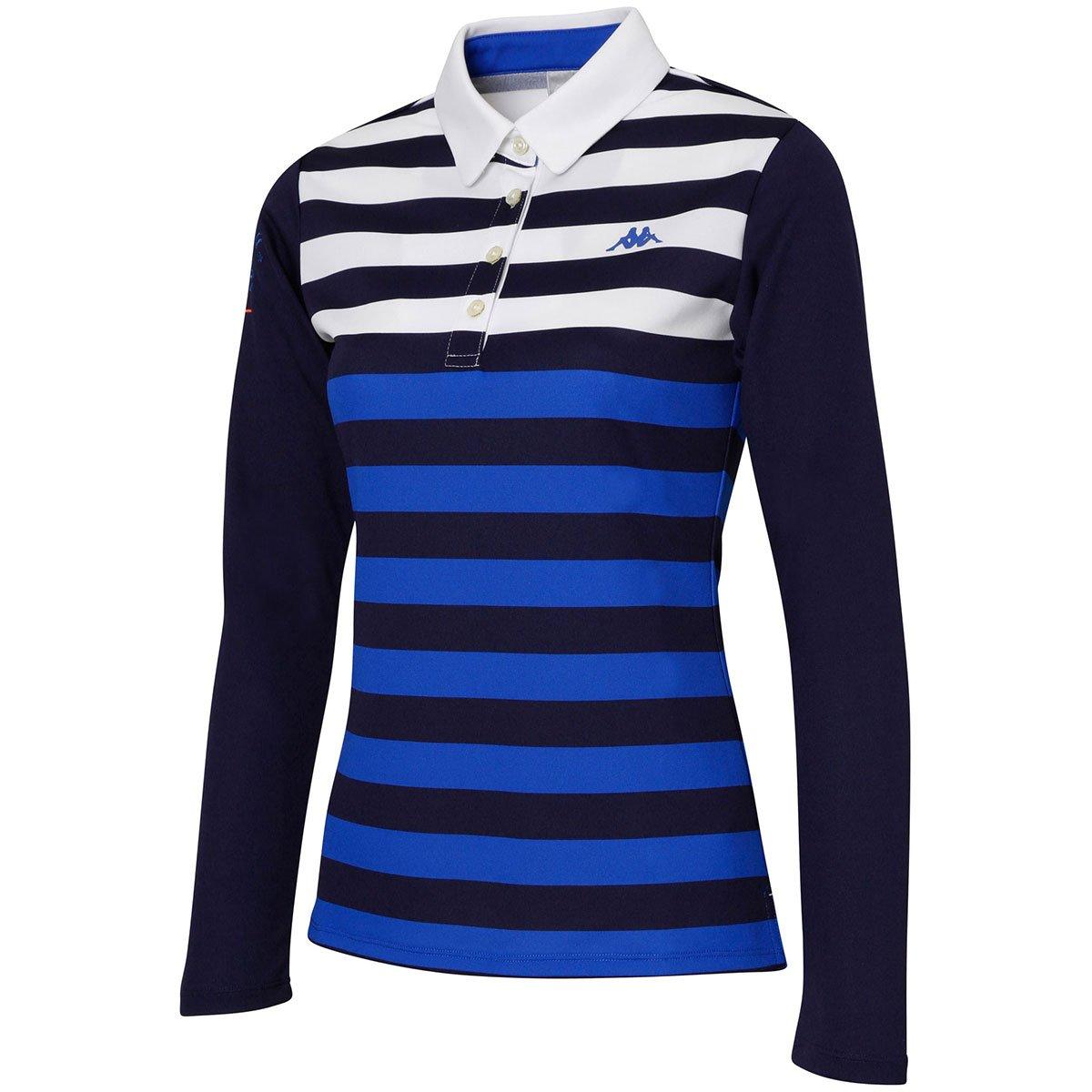カッパ Kappa 長袖シャツポロシャツ ITALIA マルチボーダー長袖ポロシャツ KC722LS71 レディス M ブルー B0763JQKD9