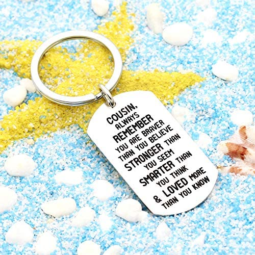 JZSTA Always Remember You are Braver Than You Believe Keychain Inspirational Gifts for Women Men
