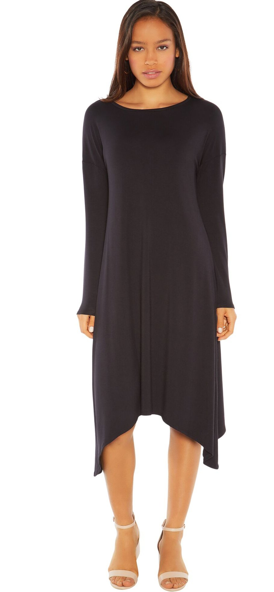 Rohb by Joyce Azria Tribeca Long Sleeve Hanky Hem Dress (Black) Size M