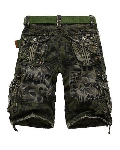 QitunC Hombre Cargo Shorts Pantalones Cortos Bermudas Laboral Camuflaje Cortos vf4xJc